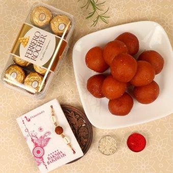 Rakhi with Sixteen Ferrero Rochers and One Kg Gulab Jamun