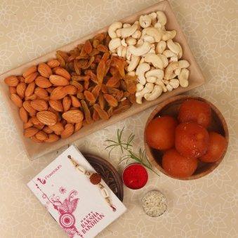 Gulab Jamun Dry Fruits Rakhi Combo