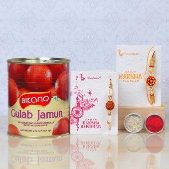 Rakhi with Gulab Jamun Sweet