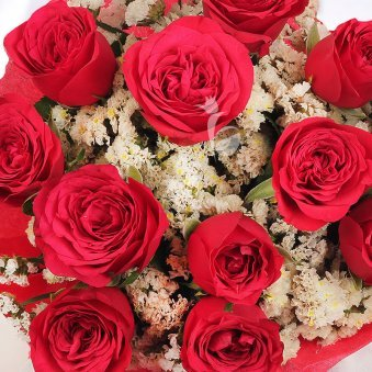 Top View of Red Roses - Part of Cuddly Roses Combo
