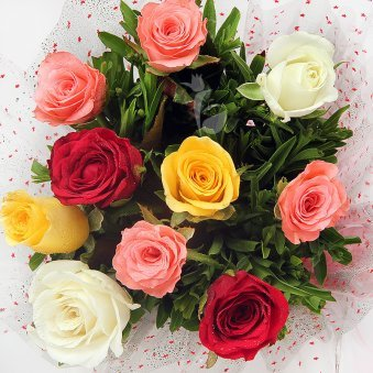 10 Mixed Color Roses with Top View