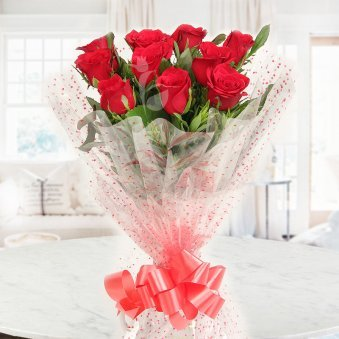 Front view of 10 Red Roses bouquet - First gift of Lovesome Wishes