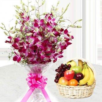 Purple orchid flowers with 2 kg fruit basket