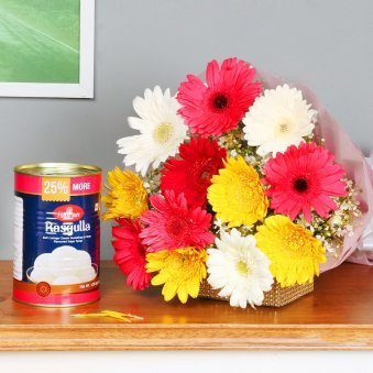 Fathers Day flower and Rasgulla combo online in India