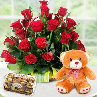Love Sensation - A Combo of 40 Red Roses and Brown Teddy