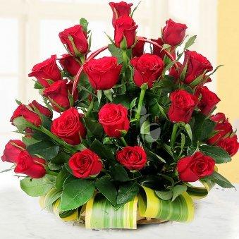 A basket of 40 long stem Red Roses