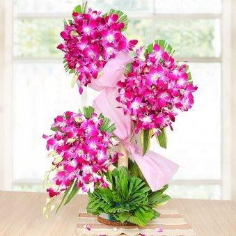 90 Purple Orchids Arrangement