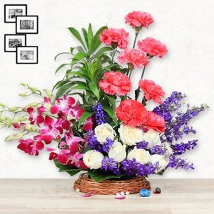 8 Pink Carnations 8 White Roses and 4 Purple Orchids in Basket