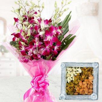 Serene Gratitude - A Gift Hamper of 6 Orchids and Half Kg Dry Fruits Pack