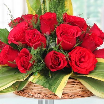 18 Red Roses in Basket in Zoomed View