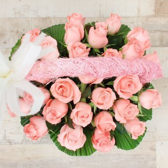 20 Baby Pink Roses in Round Handle Basket with Top View