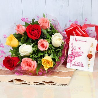 Bunch of 10 Mixed Color Roses with Rakhi and Roli Chawal