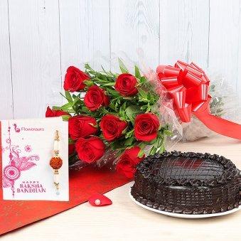 Rakhi with Red Roses and Cake with Rakhi