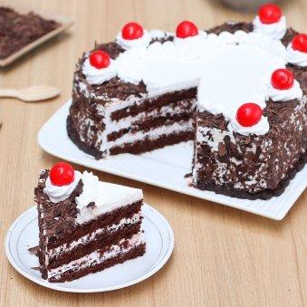 Heart-Shape Black Forest Birthday Cake Piece
