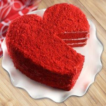 Heart Shaped Red Velvet cake inside