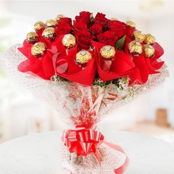 Front view of Rosy Rocher Bouquet