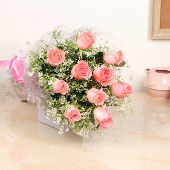 Bunch of Ten Pink Roses