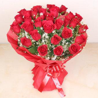 30 Scarlet Flower Delivery for Rose Day Gift