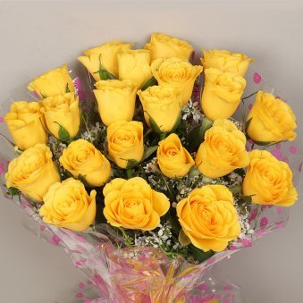 20 Yellow Roses Bunch with Zoomed View