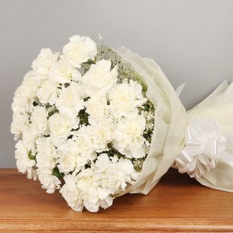 20 White Carnations Bunch with Front View