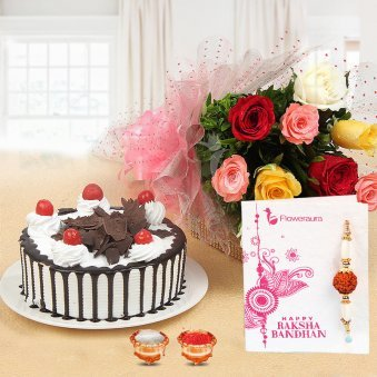 Sweet Rakhi Desires - Combo of Rakhi, Roli and Chawal, 10 Mixed Flowers, Half kg Black Forest Cake