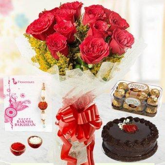 Rakhi With Roses With Chocolates N Cake