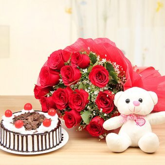 Lady Charmers - Combo of Red Roses with Cake and Teddy