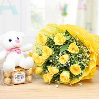 Cuddly Choco Combo of 12 Yellow Roses bunch with 16 Pcs of Ferrero Rocher and a 6 inches teddy