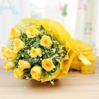 12 Yellow roses bunch - 1st gift in Cuddly Choco Combo