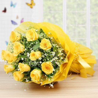A Bunch of 12 yellow roses - Part of Choco Yellow Rosey Delight