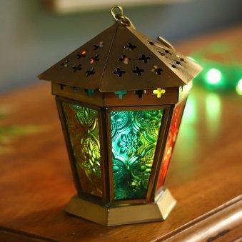 A Delight For Eyes Lantern - Colorful Moroccan Mini Iron & Glass Lantern