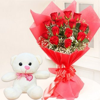 Affectionate Love - 6 Inch Teddy with Bouquet of 12 Red Roses