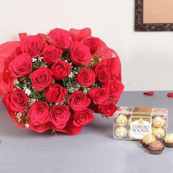 Roses With Ferrero Rocher Chocolate Box