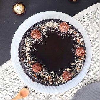 Top view of Almond Rocher Birthday Cake