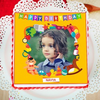 Artistic Happy Birthday Photo Cake