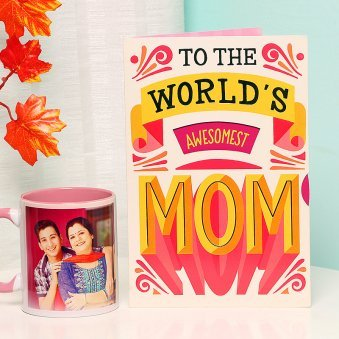 A Combo of Mothers Day Greeting Card and Personalised Mug