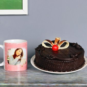 One Personalised Ceramic Mugwith 500gm Delicious Chocolate Cake