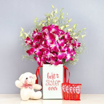 Bear N Orchids Kit Combo - 6 Purple Orchids in Floral Box for Sister 6'' Teddy 5 Nestle Kitkats