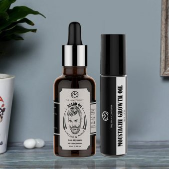 Beard and Mustache Oil Pack - Almond and Thyme Beard Oil 30 ml and Mustache Growth Roll on 8 ml