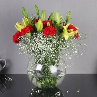 Beautiful CarnationsandLilies Vase