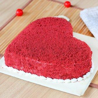 Benevolent Heart Shape Red Velvet Cake - Zoom View