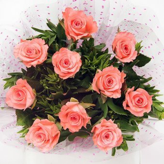 Zoom view of 10 pink roses bunch - A gift of Best Compliment