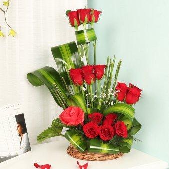 Basket Arranagement of Eighteen Red Roses