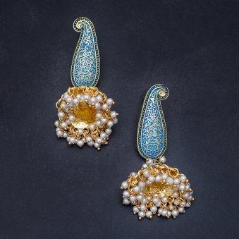 Blue Golden Jhumkas