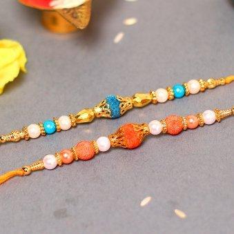 Blue Orange Bead Rakhi Set