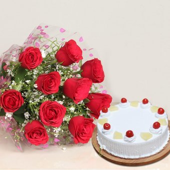 Bouquet N Cake - Bunch of 10 Red Roses with 1 Kg Pineapple Cake