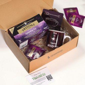 Box For Tea Lovers - One printed ceramic mug with Twinings Origins Darjeeling Tea One Printed Coaster and Peek A Boo Box