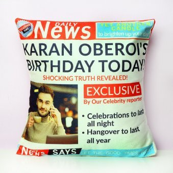 Printed Personalised Birthday Cushion
