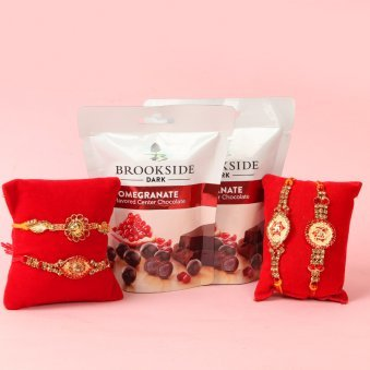 Brooksided Love With Diamond Rakhis - Set of 4 Charming Designer Rakhis with Complimentary Roli and Chawal