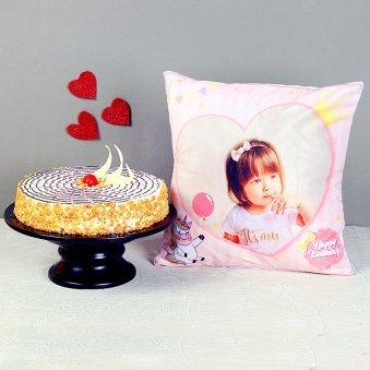 Butterscotch Cake and Photo Cushion